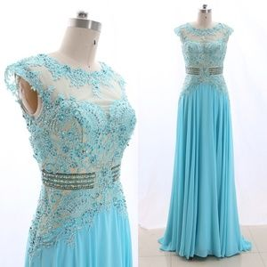 Dresses & Skirts - Cap Sleeves Sky Blue Prom Dress Formal Ball Gown